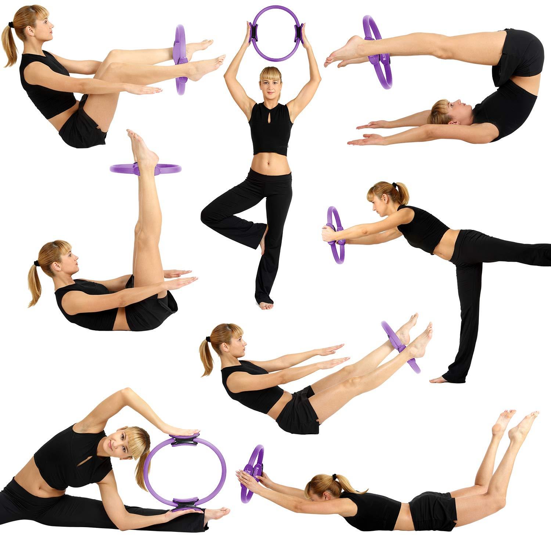 REEHUT Aro Pilates Anillo de Pilates Círculo de Yoga Aro de Resistencia de Entrenamiento para los Ejercicios de Pilates Yoga Fitness y Estiramiento ...