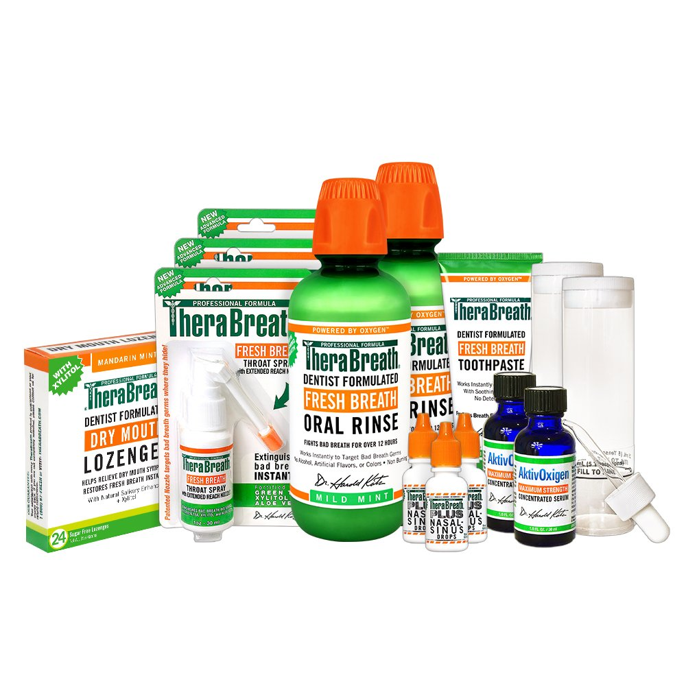 TheraBreath – Tonsil Stones Deluxe Kit – Neutralize Tonsil Stones – Oxygenating Oral Rinse – Nasal Sinus Drops – Throat Spray – Mouth-Wetting Lozenges – AktivOxigen Serum – Multiple Product Kit