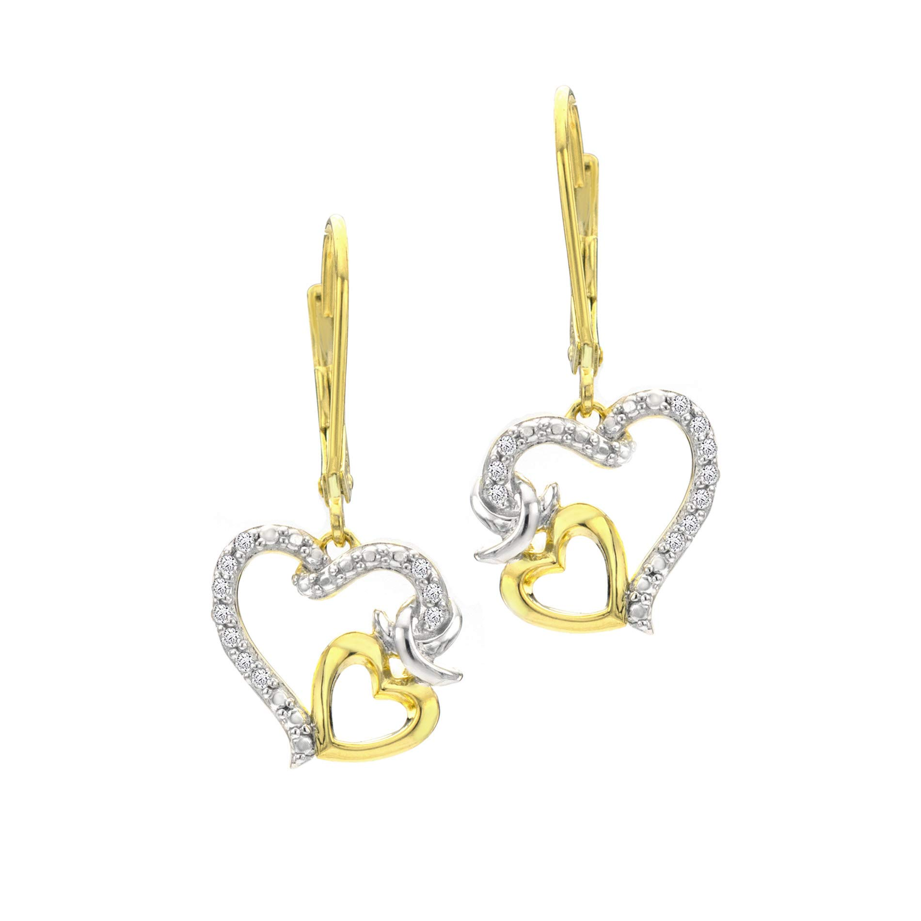 BLOWOUT SALE City of Hope 14K Yellow Gold Plated Sterling Silver Diamond Dangle Heart Earrings - 1/10 cttw