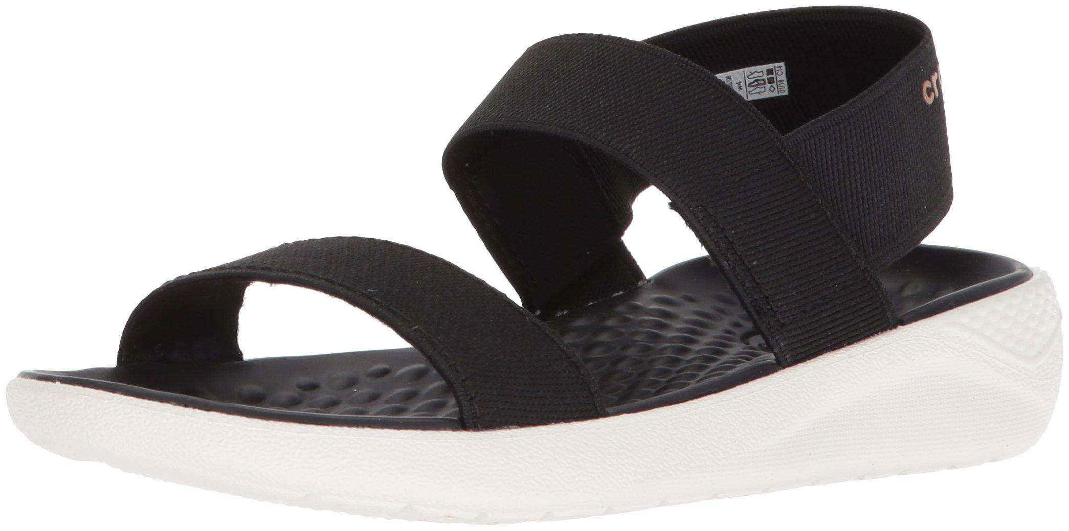 Crocs Women's LiteRide Sandal Flat, black/white, 9 M US by Crocs
