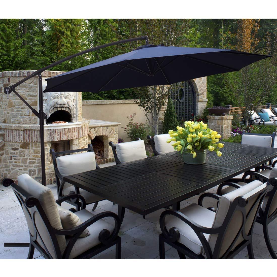 KINGYES 10ft Patio Offset Cantilever Umbrella Market Umbrellas Outdoor Umbrella with Crank & Cross Base for Garden, Deck,Backyard and Pool(Navy Blue) by KINGYES (Image #2)