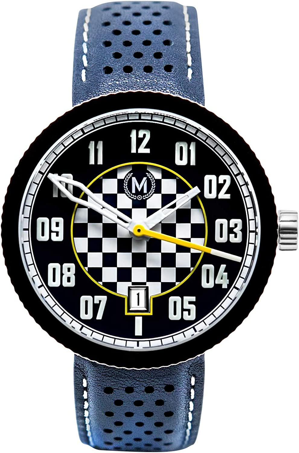 Marchand Legacy Automatic Racing Watch | Racing Watch for Men | Unique Checkered Racing Dial | British Designed | Premium Automatic Watch | Blue Leather Watch Band | Watches for Men|24 Month Warranty