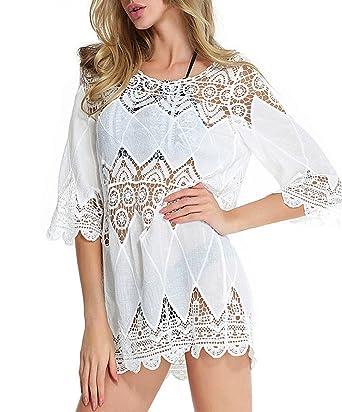 best authentic a6325 e8213 CHIC DIARY Damen Frau Bikini Cover UP Strand Tunika Kleid Badeanzug Spitze  Häkeln Pareos Strandkeid Beachwear Weiß