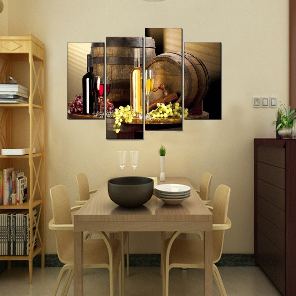 Kitchen Canvas Wall Decor: Grape And Wine Canvas Wall Art- Framed Wine Canvas Print