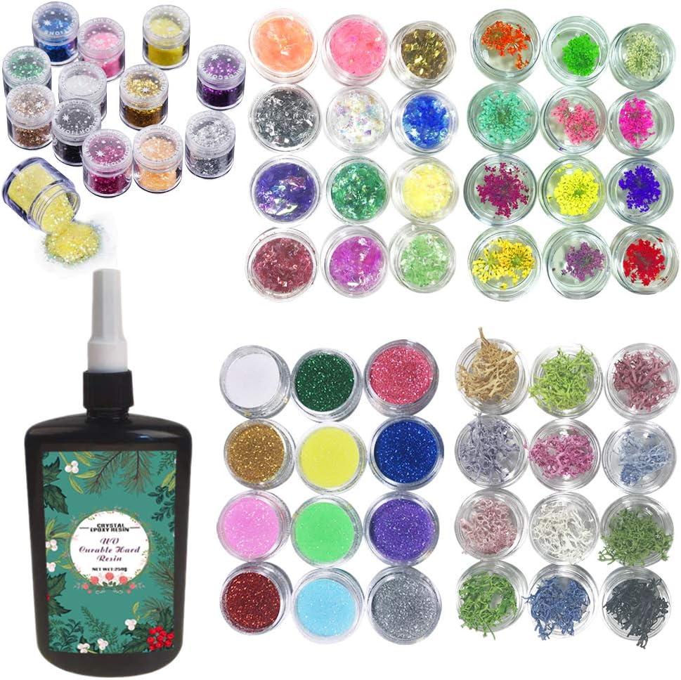Resina epoxi UV kit transparente con juegos de decoraciones, 250ml epoxi con 60 decoraciones incluyendo flores secas corales purpurinas lentejuelas celofanes, multicolor