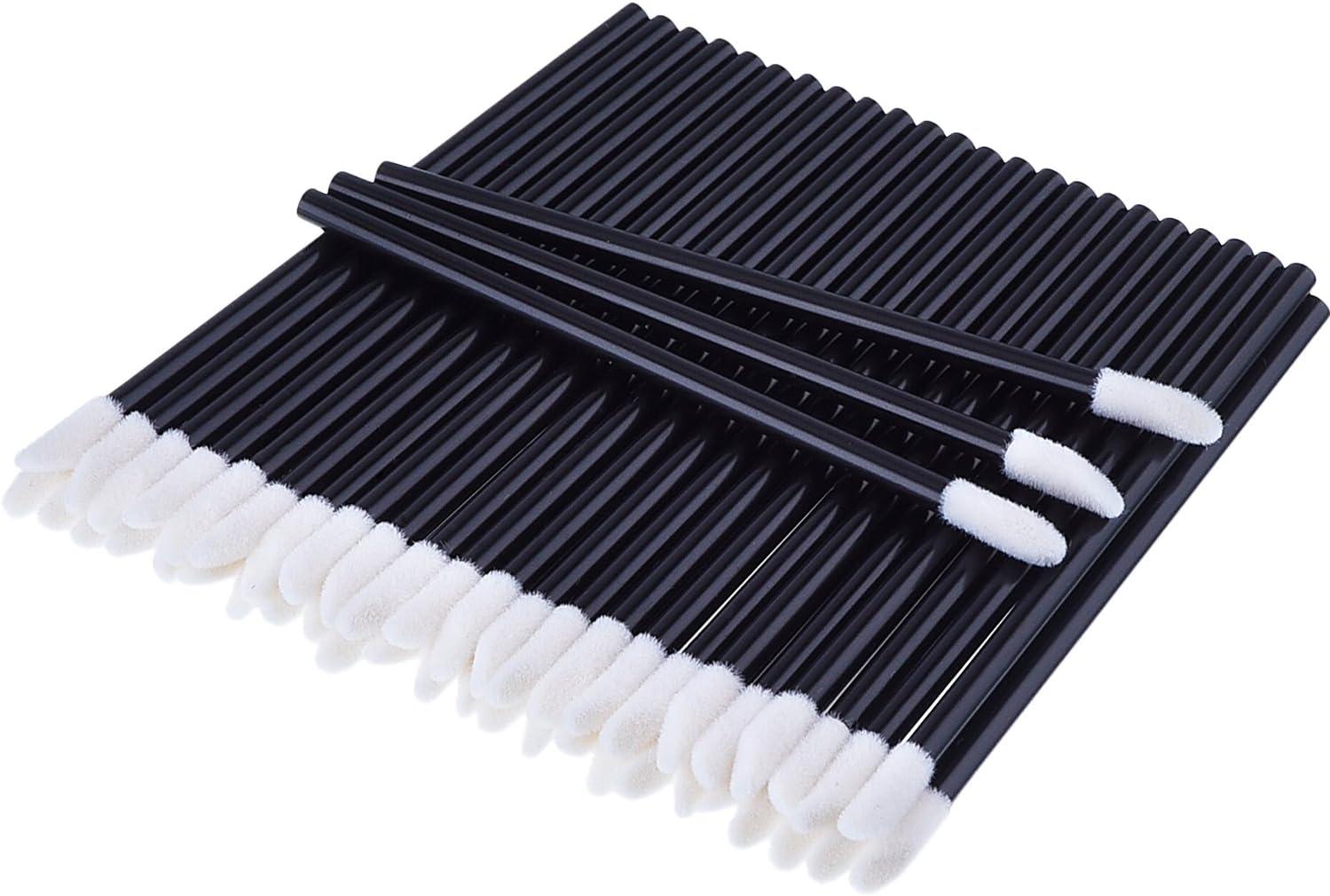 100 Piezas Desechable Varitas de Brillo Pincel de Labios del Aplicador Kits de Maquillaje, Negro