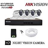 Hikvision 4 CCTV Cameras (Night Vision) & 4 Channel DVR Standalone Kit