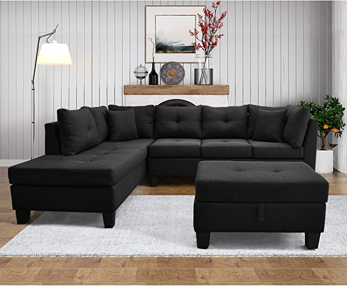 DKLGG, Black 3 Piece, Sectional Convertible Couch L-Shaped Left Loveseat Chaise Living Room Furniture Sofa Set