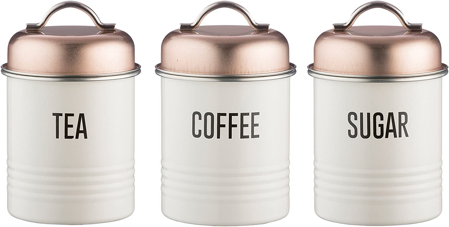 Typhoon 1401675 Vintage Copper Tea Coffee And Sugar Canisters Stainlesssteel