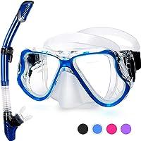Fenvella 2019 Set Snorkeling, Anti-Fog Maschera Snorkeling con Panoramica a 180 Gradi e Boccaglio Snorkel, Kit Snorkeling Professionale per Adulti