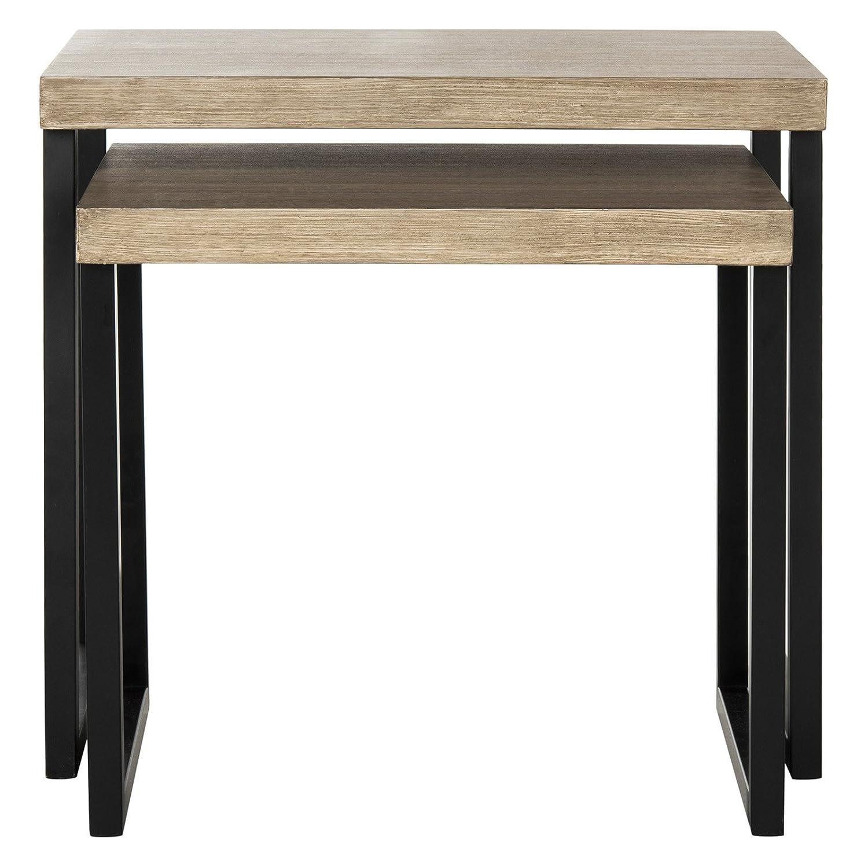 Safavieh FOX4266A Home Collection Femi Modern Nesting Light Oak and Black End Table