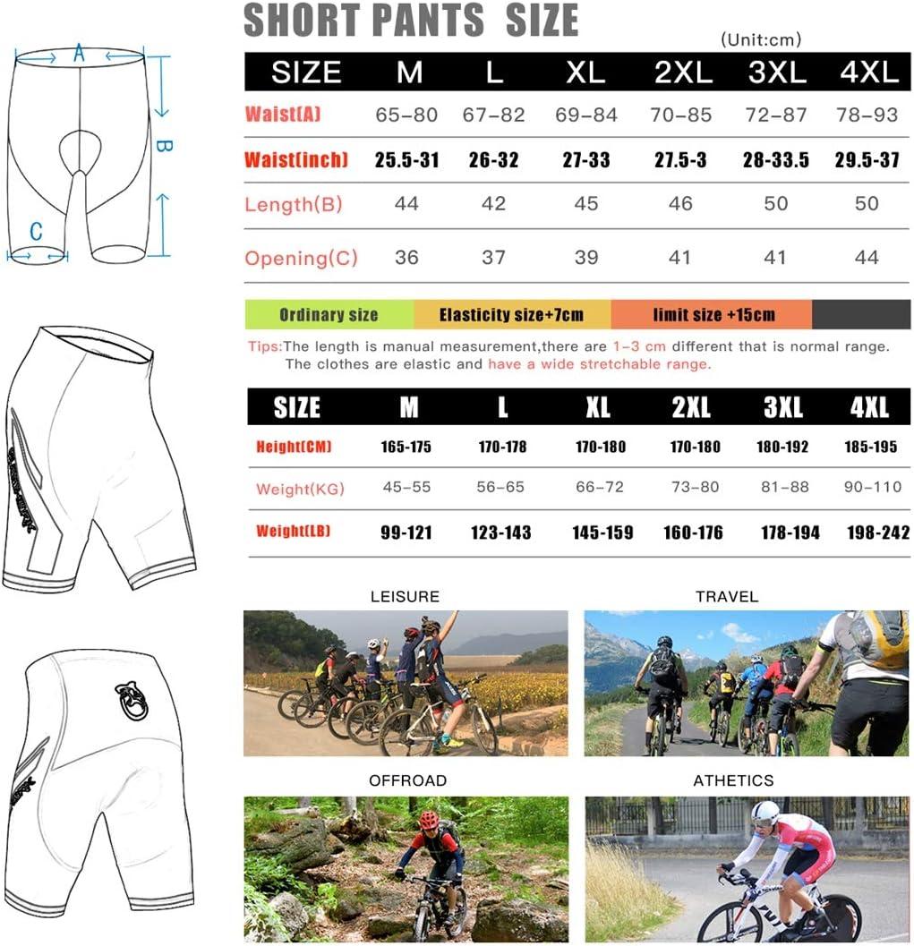 adsorbant , S/échage Rapide JSDing sous-v/êtements de Cyclisme Shorts de Cyclisme rembourr/és en 3D Shorts VTT pour Hommes Gel de silice Conception antid/érapante Respirant
