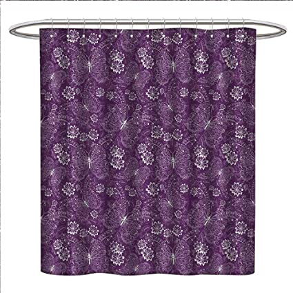 ScottDecor Plum Shower Curtains 3D Digital Printing Floral Romantic Pattern With Vintage Style White Butterflies Swirly