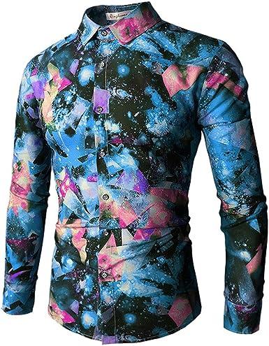 PIZZ ANNU Camisa de Hombre con Estampado de Moda Camisa de Manga Larga de Diseño Patrón único Tops Florales: Amazon.es: Ropa y accesorios