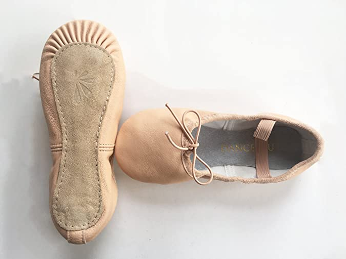 DANCE YOU 1102-2 Balletschläppchen Spitzenschuhe Aus Leder Ballettschuhe Gymnastikschläppchen mit Geteilte Sohle Aus Leder Tanzschuhe für Damen und Kinder in Gr. 24-40 Erhältlich 185 EU29 uNdYC