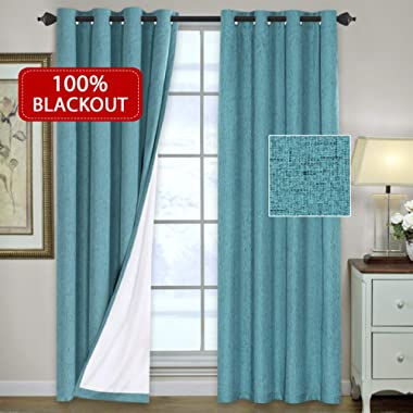 H.VERSAILTEX (Set of 2) Waterproof 100% Blackout Thermal Insulated Textured Rich Material Linen Curtains Traditional Antique Grommet Curtain Panels, 52 x 96 inches - Teal