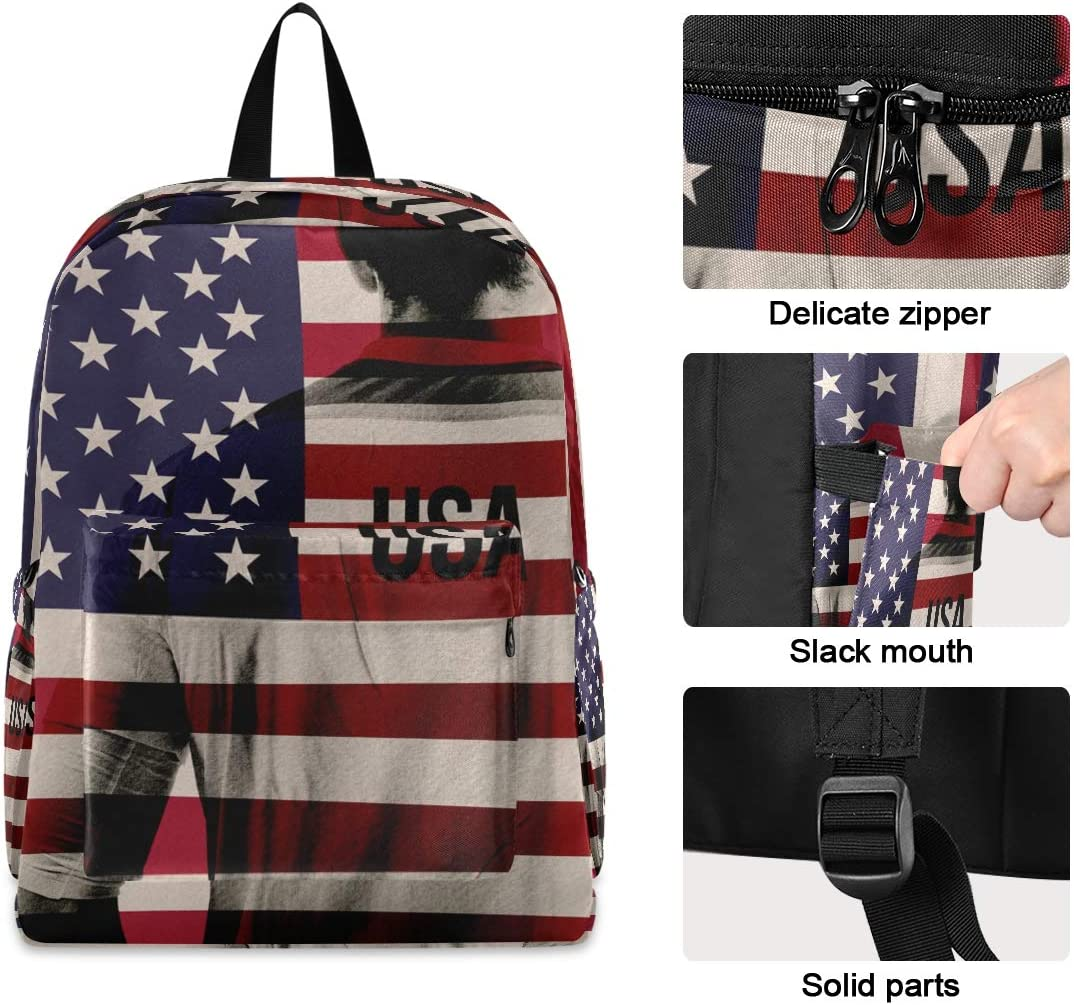 Student Laptop Backpack Lightweight Bookbag USA Football Player Outdoor Daypack for Women Men Cyclingg Biking Hiking Camping Fits up to 15.6 Inch Laptop