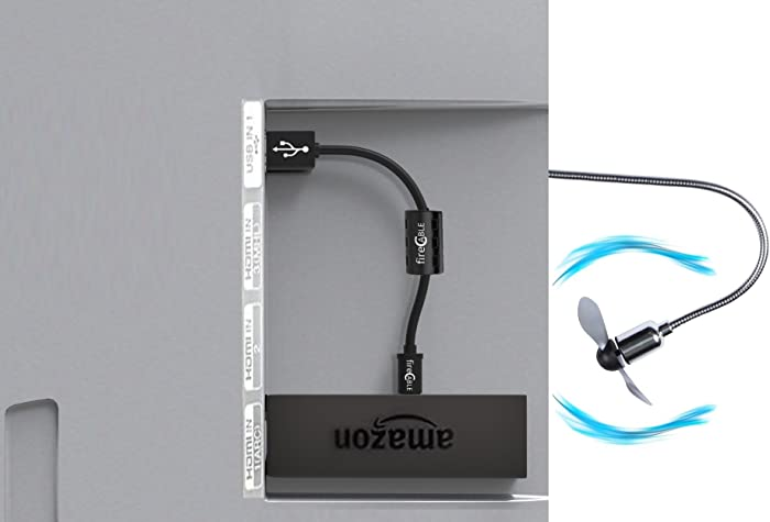 Fire Cable Cool Breeze Fan | for Cooling HDMI Streaming Devices Neatly Hidden Behind TV (FireStick, Roku, etc.)