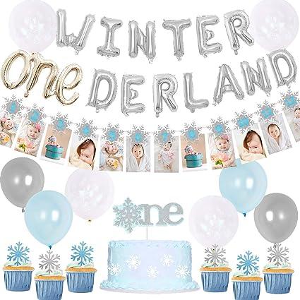 JeVenis Set of 2 Glitter Blue Winter Onederland Banner Winter Onederland Cake Topper Winter Baby Shower Decoration Winter Party Decoration