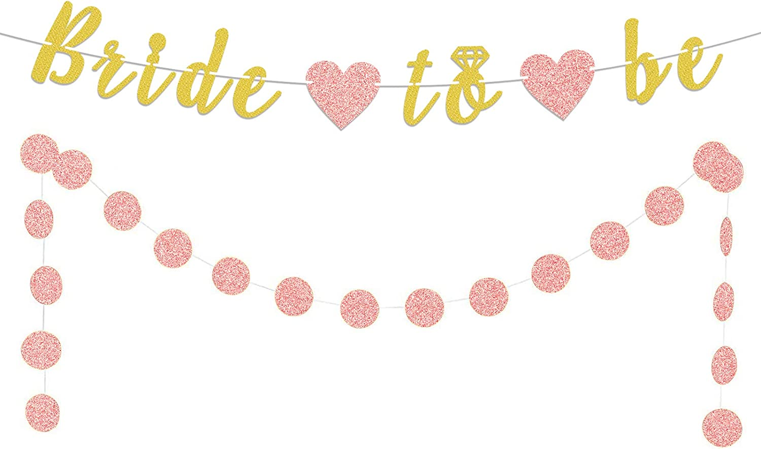 LASKYER Bride to Be Gold Glitter Banner 2pcs Heart with Rose Gold Circle Dots Set Perfect for Wedding Bachelorette Engagement Party Decorations.