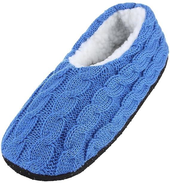 EOZY Calcetines de Punto Invierno Caliente para Mujer Chica Zapatos Casa Suave Antideslizante Azul S
