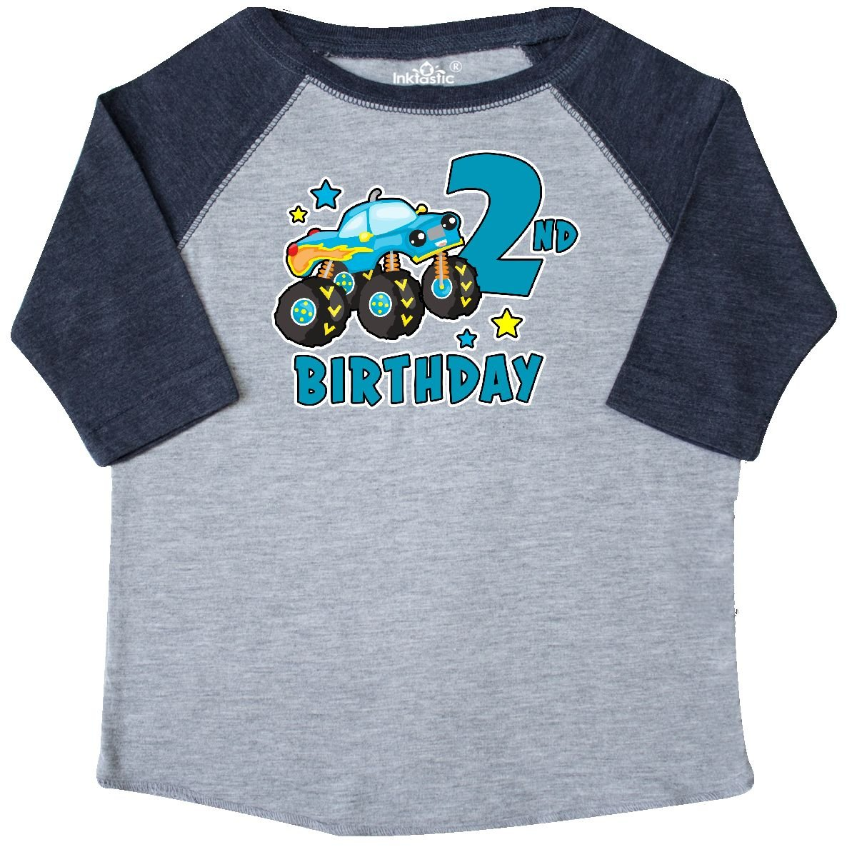 inktastic 2nd Birthday Monster Truck Toddler T-Shirt 2T Heather and Navy by inktastic
