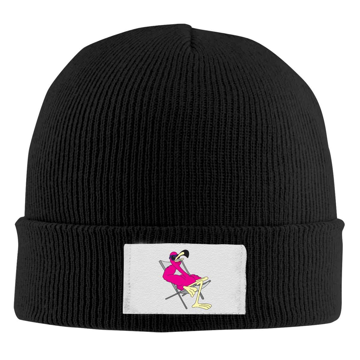 Stretchy Cuff Beanie Hat Black Skull Caps Funny Flamingo 1 Winter Warm Knit Hats