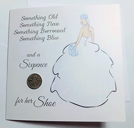 Wedding bride card with lucky sixpence greeting card traditional wedding bride card with lucky sixpence greeting card traditional rhyme unique keepsake with something old m4hsunfo