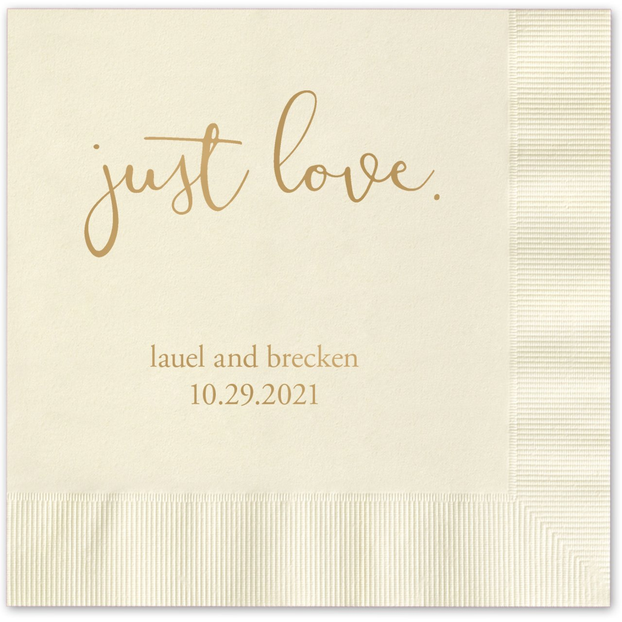 Just Love Personalized Beverage Cocktail Napkins - 100 Custom Printed Ecru Paper Napkins with choice of foil