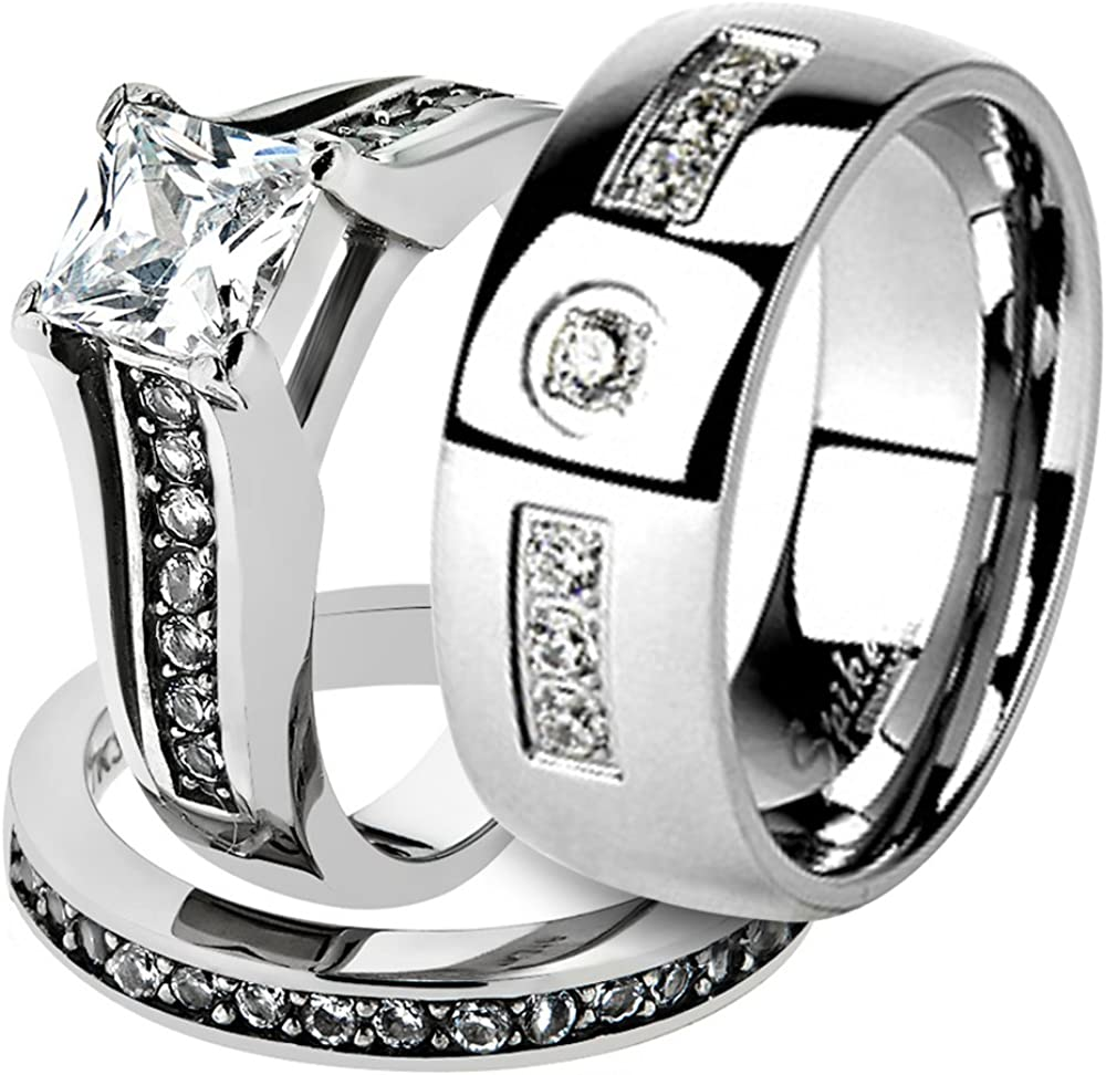 Marimor Jewelry His & Her Stainless Steel 2.10 Ct Cz Bridal Ring Set & Men Zirconia Wedding Band