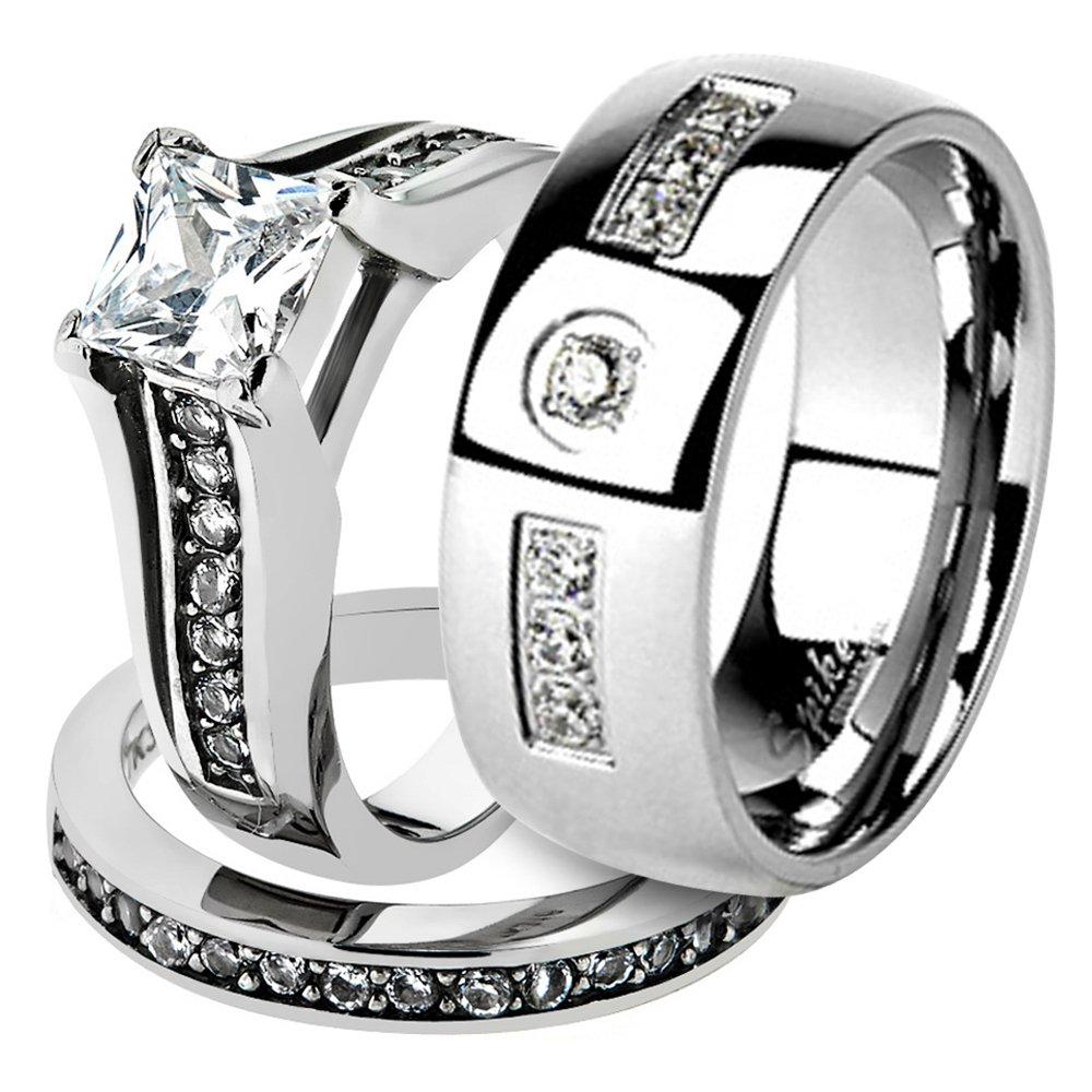 His & Her Stainless Steel 2.10 Ct Cz Bridal Ring Set & Men Zirconia Wedding Band Women's Women's Size 07 Men's Size 13