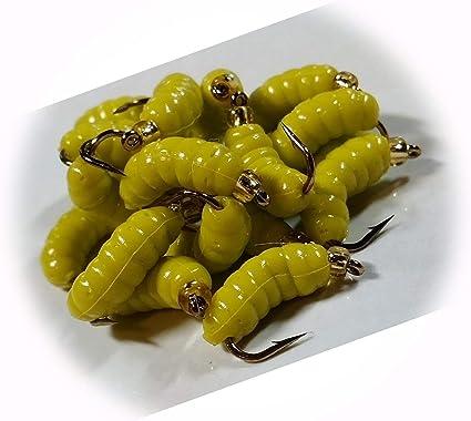 1 Dozen Trout Crappie Pan Fish #10  Rubber Grub Maggot FL Yellow Wet Fly