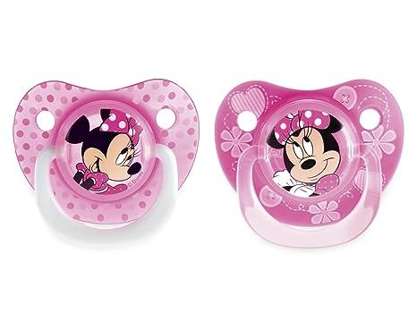 SISTEMA Paquete 2 chupetes de silicona caen Minnie 6m: Amazon.es: Bebé
