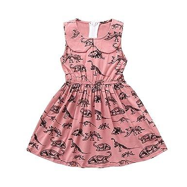 YpingLonk Vestido Elegante de Princesa Niña Cuello de Muñeca Cumpleaños Fiesta Vestir Dibujos Animados Dinosaurio Impresa sin Manga Falda Traje de ...
