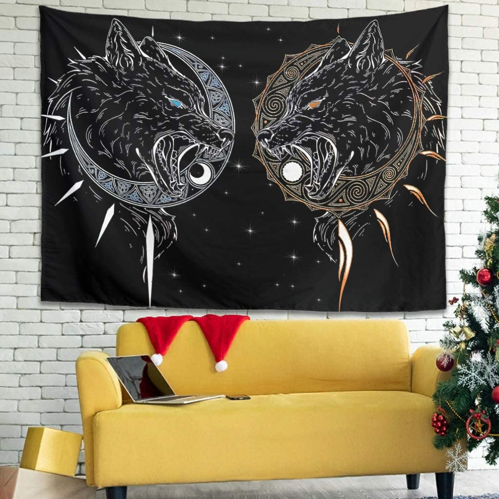 Vikings Tattoo Design Wall Tapestries Gothic Bed Sheet Blanket Great - for Corridor Decorate white2 79x59 inch