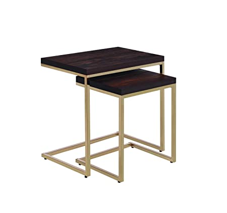 Coaster Mid Century Modern Chestnut And Brass 2 Piece Nesting Table 930116 by Coaster Home Furnishings