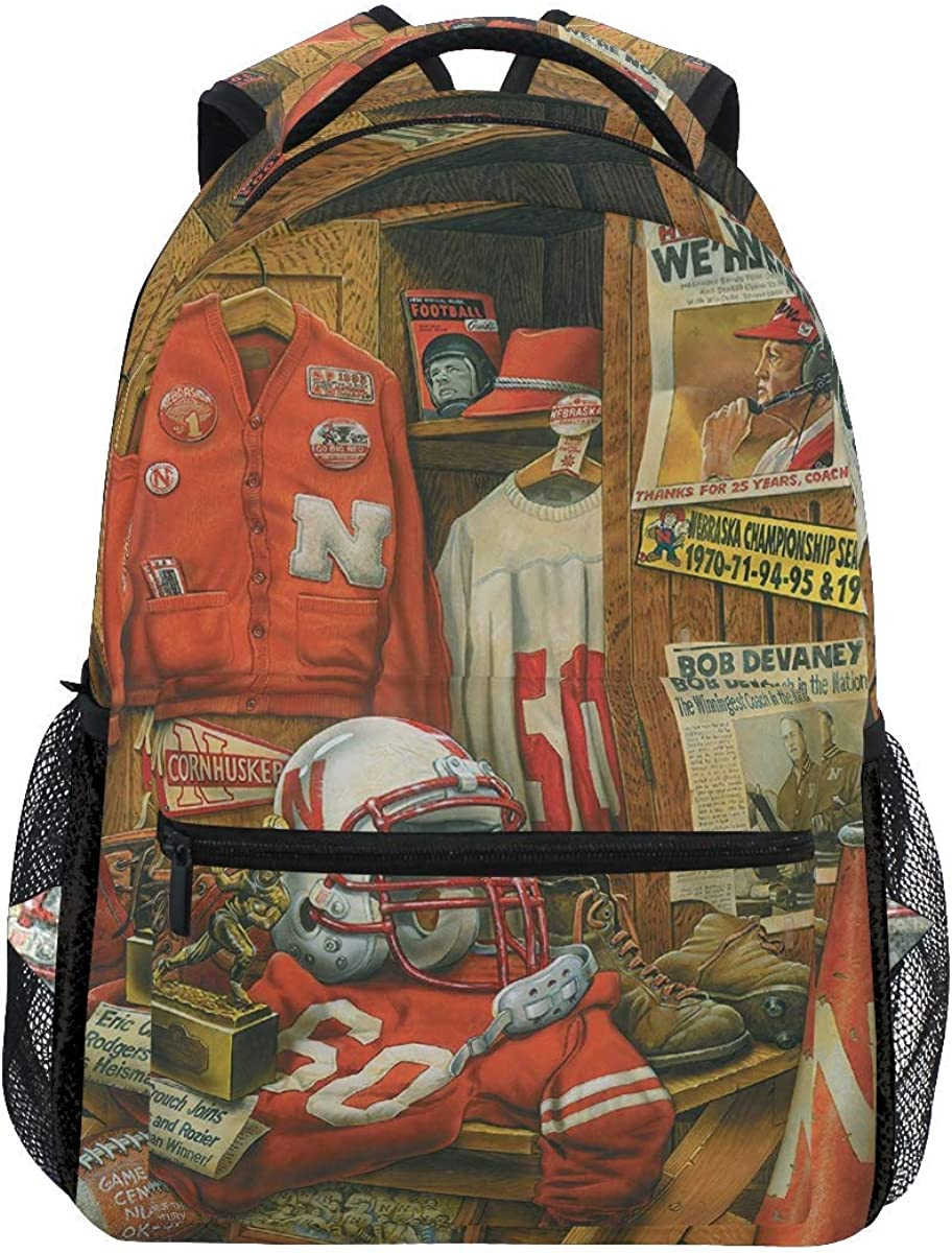 Boweike Vintage American Football Backpacks Retro Nebraska Football Team Book Bag Casual Extra Durable Waterproof Laptop Backpack Lightweight Travel Sports Day Pack Carrying Bags for Men Women