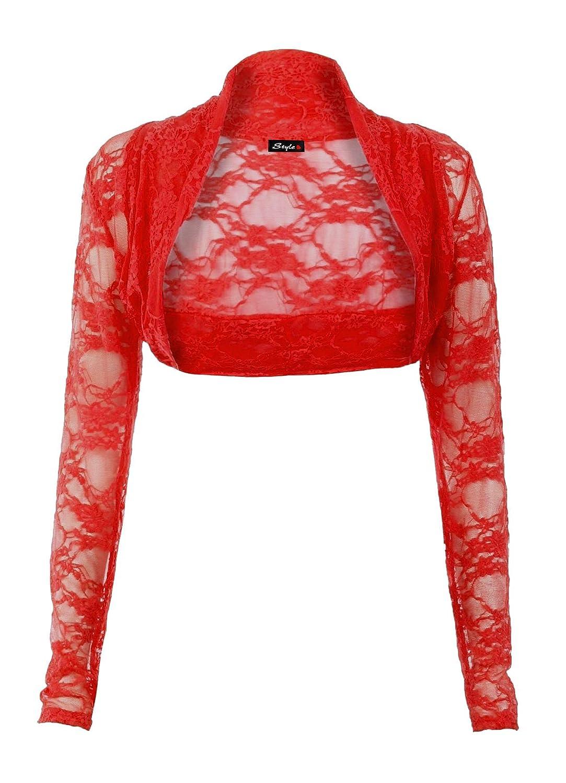 Fast Fashion - Blusa tipo bolero para mujer, manga larga, abierta por delante, con encaje floral: Amazon.es: Ropa y accesorios