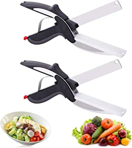 2 Pcs Clever Cutter, Food Chopper 2 in 1 Smart Cutter with Cutting Board Built-in-Use for Quick and Easy Cutting as Food Shears, Vegetable Slicer, Fruit Cutter