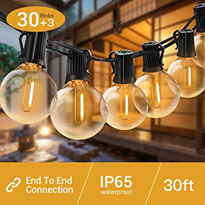 Quntis LED Outdoor String Lights - Waterproof 32FT G40 Globe String Lights with 30 Bulbs Shatterproof Patio String Lights Hanging for Garden Backyard Wedding Party Christmas, UL Listed, Warm White: Home & Kitchen