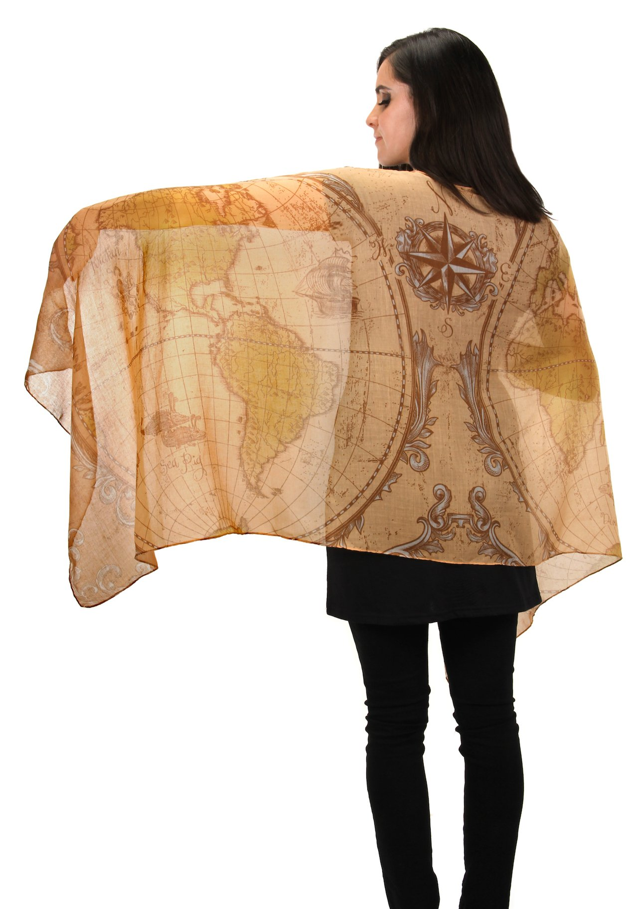 elope Olde World Map Lightweight Scarf for Women by elope (Image #4)