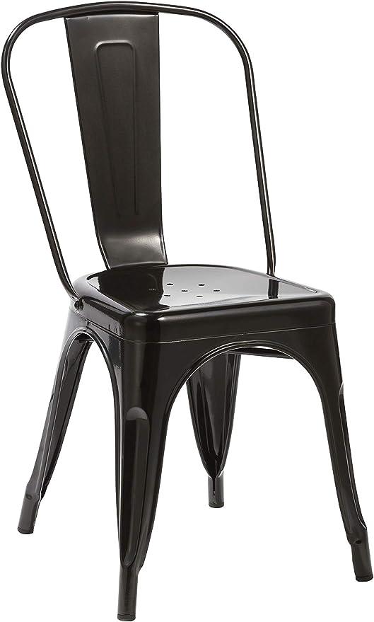 Duhome Sedia da Sala da Pranzo in Metallo Ferro con Schienale Stile Vintage impilabile Design Industriale Selezione Colore 666, Colore:Nero,