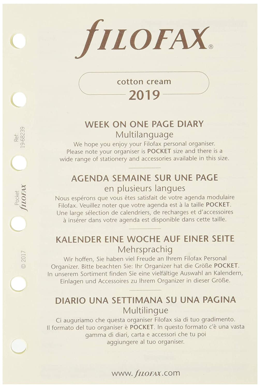 Filofax 2019 Pocket Week on a Page Refill, Cream Paper,Jan 2019-Dec 2019, 4.75 x 3.25 inches (C68239-19)