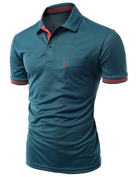 Xpril Men\'s Cool Max Fabric Sporty Design 2 Tone Collar T-Shirt