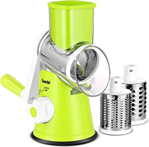 Geedel Rotary Cheese Grater, Kitchen Mandoline Vegetable Slicer with 3 Interchangeable Blades, Easy to Clean Rotary Grater Slicer for Fruit, Vegetables, Nuts …