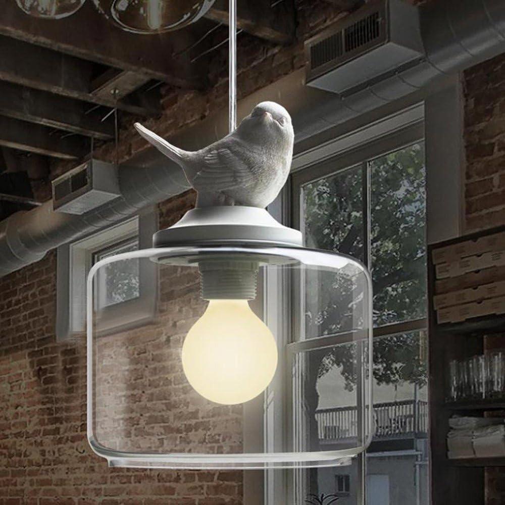 NIUYAO Suspension Lustre Contemporain Doux et Romantique Oiseau en résine Abat jour avec Clair Verre Pendant Lampe Ceiling Light Chandelier Blanc