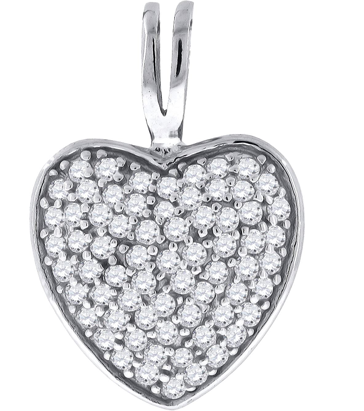 Jewels By Lux Sterling Silver Womens Cubic Zirconia CZ Heart Cluster Fashion Pendant Set With The Highest Quality Cubic Zirconia.