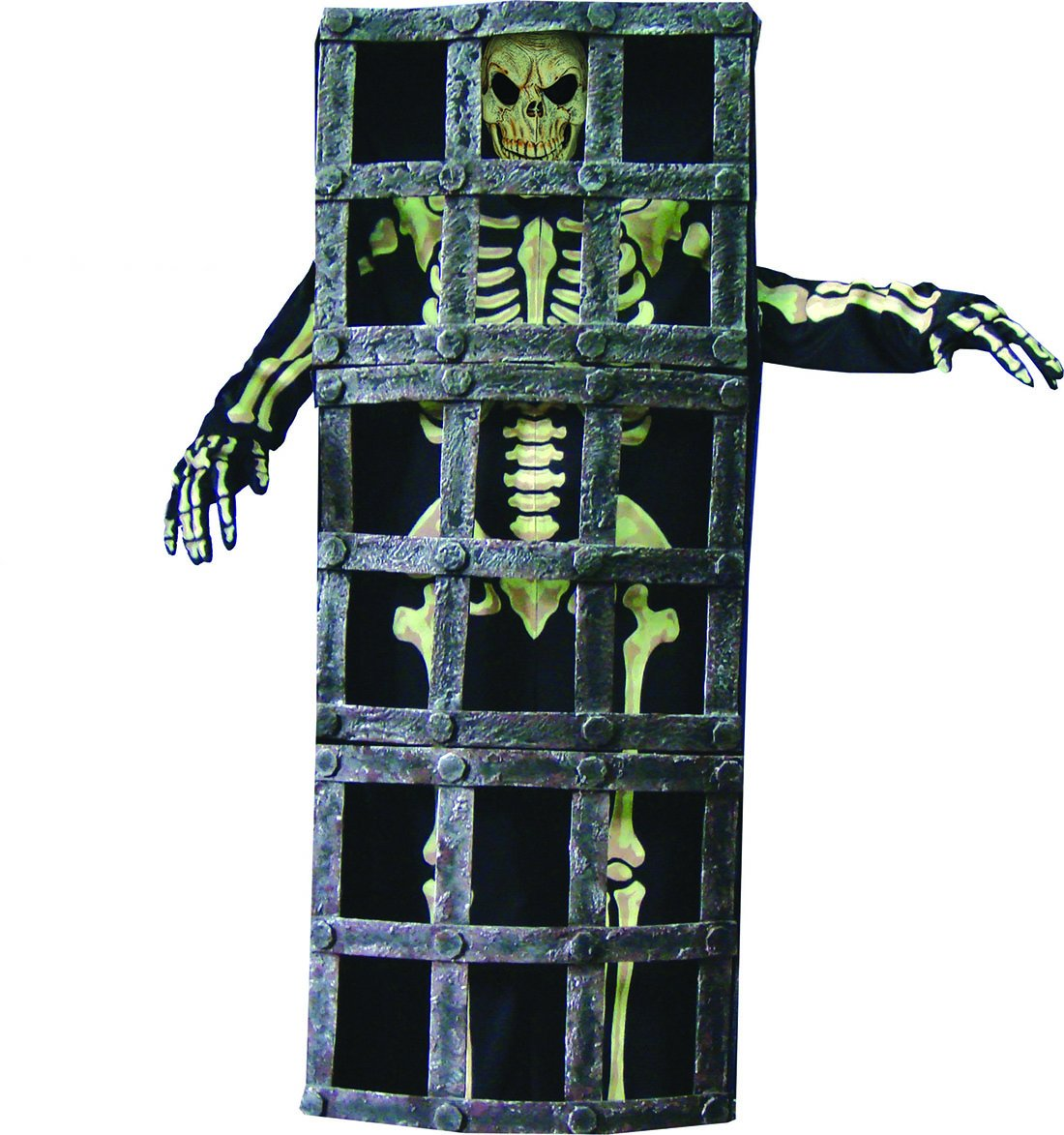 Erdbeerclown - Herren Halloween Karnevals-Kostüm Set Nightmare Horror Gefängnis-Skelett, One Größe, Mehrfarbig