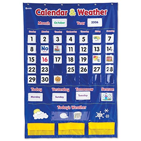 Amazon com learning resources calendar and weather pocket chart