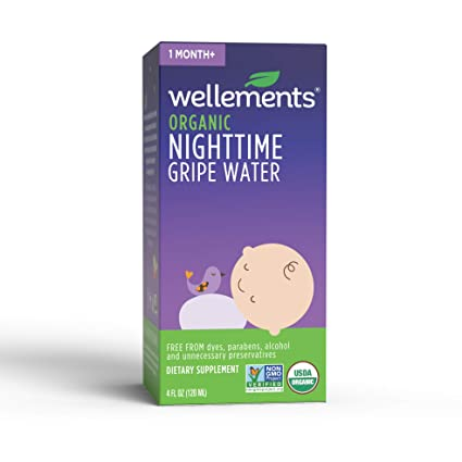 Wellements Organic Nighttime Gripe Water, 4 Fl Oz, Eases Baby's Stomach Discomfort, Free From Dyes, Parabens, Alcohol, Preservatives by Wellements